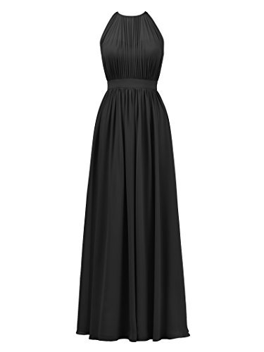 醜い献身魅力的AlicePub ホルターイリュージョン ブライズメイド ドレス シフォン フォーマル イブニング プロム ガウン マキシ丈 US サイズ: 14 カラー: ブラック