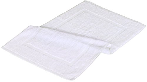 Luxury Cotton Hotel-Spa Tub-Shower Bath Mat, Floor Mat - (2 Pack, 20 inch by 34 inch) - Washable Bath Rug Set, Luxury Size, Maximum Absorbency, Machine Washable - by Alurri (2, White) (2, White)