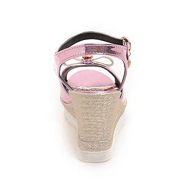 LvYuan Mujer Sandalias Confort Tira en el Tobillo Cuero Patentado Verano Casual Vestido Confort Tira en el Tobillo Tacón Cuña Media plataforma Gold