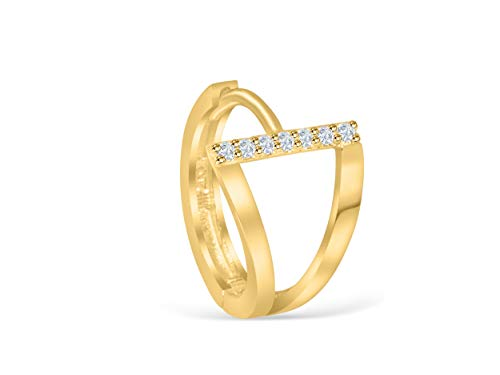 14K Solid Yellow Gold Jewelry Cz Cubic Zirconia Crystal Open Triangle Pyramid Tragus Cartilage Snug Rook Daith Helix Ear Segment Clicker Hoop Ring Piercing Earring For Women ()