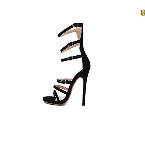 Cena La Alto De Sandalias Mzg Zapatos Hebilla 100 Para Femeninos Black El Con Partido Cumplir Tacón Rocío Lap nO4SxwXS