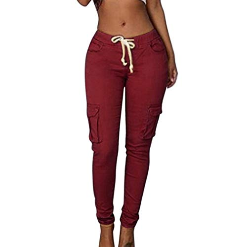 2019 Spring Lace Up Waist Casual Women Solid Pencil Pant Multi-Pockets Straight Slim Fit Trouser Wine Red