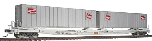 Walthers Gold Line(TM) HO Scale Mark III Flexi-Van Flatcar  with Two Trailers Ready to Run Milwaukee Road #7025