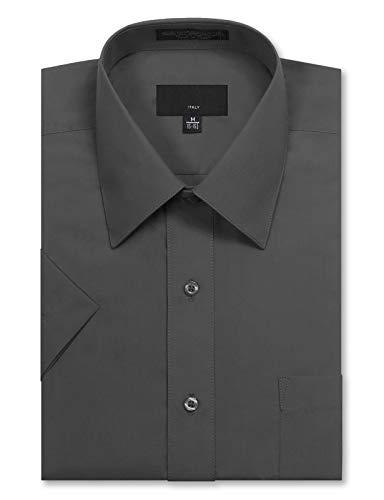 JD Apparel Men's Regular Fit Short Sleeve Dress Shirts 17-17.5N X-Large Charcoal ()