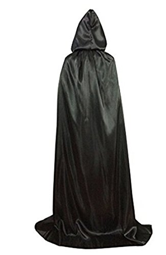Sexy Plus Size Vampire Costumes (Adults Halloween Hooded Cloak Vampire Witches Full Length Long Satin Cape Christmas Party Costume Role Cosplay Robe Props (Black 180cm/71 inch Long))