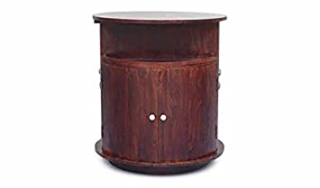 Aprodz Mango Wood Wine Storage Stylish Cue Bar Cabinet for Living Room | Walnut Finish