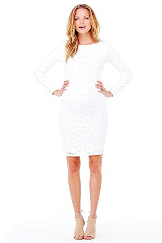 Ingrid & Isabel Women's Maternity Boatneck Lace Dress, Winter White, Large