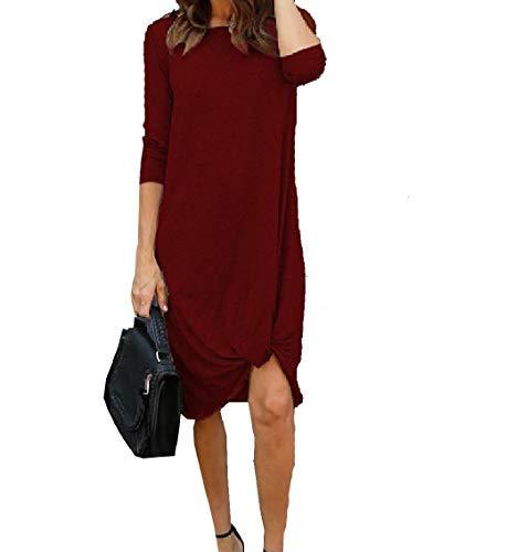 Coolred Alto Colore Puro Dal Rosso Pullover donne Girocollo Basso Vino Vestito Club Aderente TaIqTrCwU