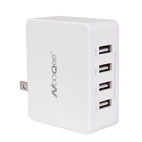 NooQee 25W 5A 4-Port USB Charger USB Travel Wall Charger Charging Station with Foldable Plugs for iPhone,Samsung,iPad,Tablet and More (White) (Dock Plug)