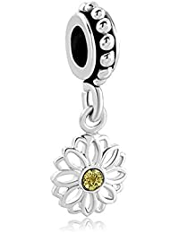 Love Daisy Flower Charms Yellow Synthetic Crystal Simulated Birthstone Spacer Beads For Bracelets