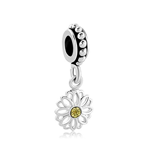 sy Flower Charms Yellow Synthetic Crystal Simulated Birthstone Spacer Beads For Bracelets ()