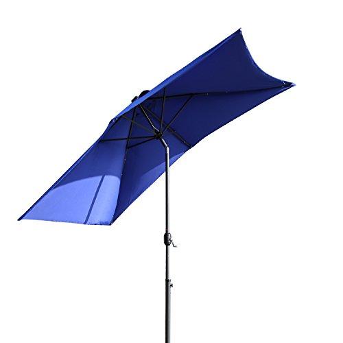 Kinbor Rectangular Outdoor Table Aluminum Solar Powered LED Lighted Patio Umbrella Window Awning Garden Furniture, 6 Metal Ribs, Burgundy/Tan/Blue (Blue)