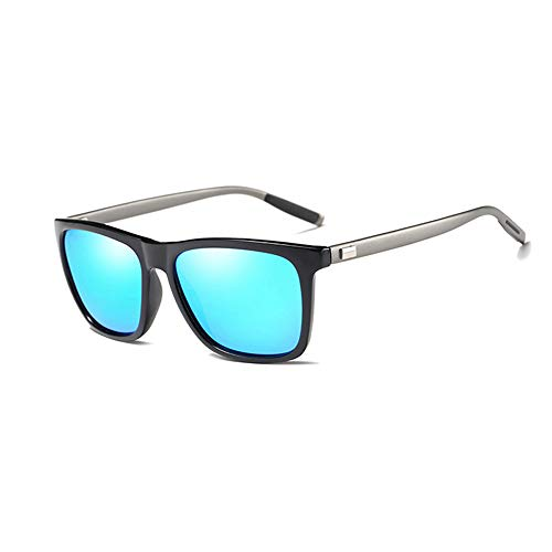 NALANDA Polarized Aviator Sunglasses With UV400 Mirrored Lens PC Frame, Mens Womens Glasses For Outdoor Travel Driving Daily Use Etc.(Black & Blue-387)