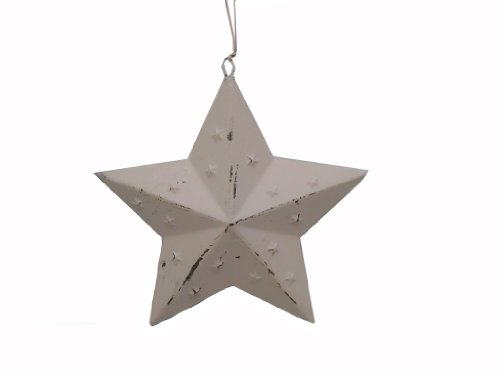 Craft Outlet Punched Star Ornament, 7-Inch, Off-White, Set of 6 - Punched Tin Crafts