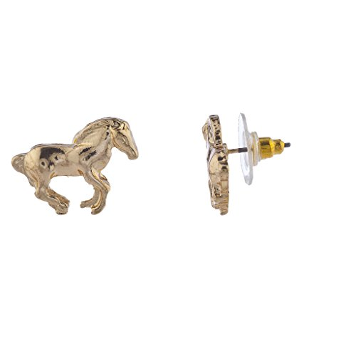 (Lux Accessories Goldtone Horse Equestrian Post Stud Earring)