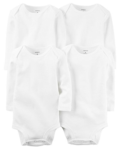 Carter's Long Sleeve White Onesies (24 Month , 4 Per Pack)