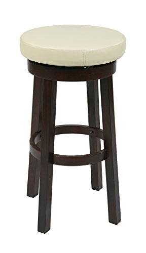 OSP Designs Office Star Metro Faux Leather Round Bar-Height Barstool with Footrest and Espresso Finished Legs, 30-Inch, (Metro Round Bar Stool)
