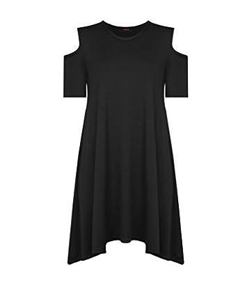 6c127d879f4e ... Celebrity Celeb Inspired Casual Plain Hanky Hem Cap Short Sleeve Dip  Hem Asymmetric Baggy Loose Fit Cut Out Cold Shoulder Round Crew Neck Top T  Shirt ...