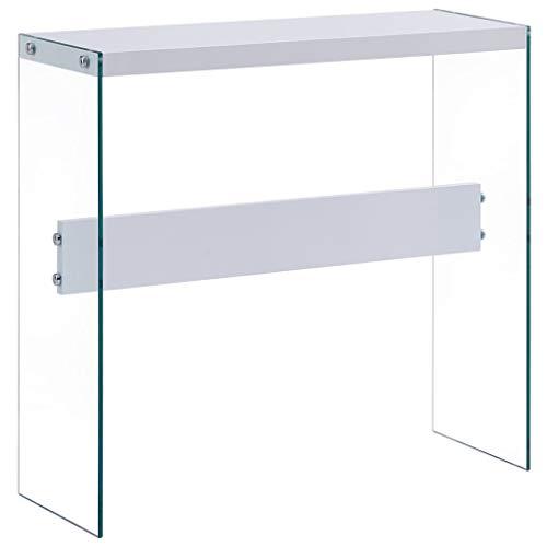 UnfadeMemory Mesa Consola Recibidor de Entrada de Cristal,Mesa Alta Cocina,Mesa de Entrada,Mueble Auxiliar,Superficie de MDF,82x29x75,5cm (Blanco)
