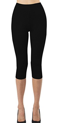 (iLoveSIA Women's Tights Capri 3/4 Workout Leggings US Size L Black)