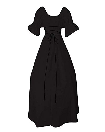 color Grey Estilo Para De Size waist Halloween 24 S Mujer Corta 80 Fiesta Vestidos Vintage Manga Vestido Jinsh Inch Black Largo wYIOxE7q