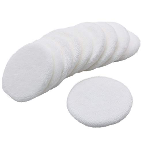 JETEHO 10 Pieces Cotton Cosmetic Powder Makeup Velour Puffs Pads Makeup with Ribbon (White)