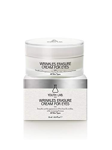 (YOUTH LAB Wrinkles Erasure Cream for Eyes - Advanced Firming Anti Wrinkle and Anti Aging Eye Care for All Skin Types - Erase Dark Circles Fine Lines and Crow's Feet - Remove Bags and Puffiness )