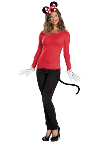 Mickey And Minnie Mouse Halloween Costumes Adults (Disney Minnie Mouse Clubhouse Minnie Kit, Red/White/Black, One Size)
