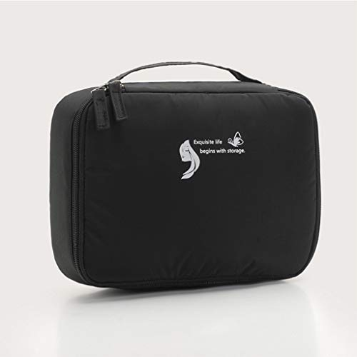 (Flurries ✈ Large Capacity Travel Make-up Case - Professional Makeup Train Organizer Bag with Handle Strap for Storage Cosmetic Brushes Essentials - Portable Waterproof Artist Box (Black))