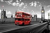 Big Ben London England Double Decker Bus Travel Photo Poster (24 x 36 inches)
