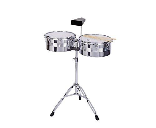 bel-O-ton Timbales auf Stativ 32,5 und 35 cm, inkl. Cowbell und 2 Sticks, stimmbare Kunststoff-Felle, Ergänzung zum Schlagzeug, höhenverstellbar 80-105 cm