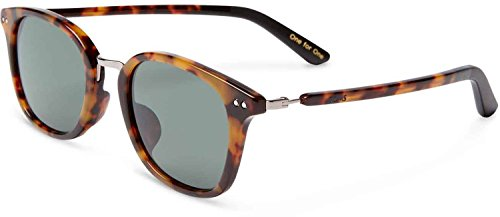 Toms Barron Polarized Sunglasses Amber Tort/Matte Black Green Grey Pol, One Size