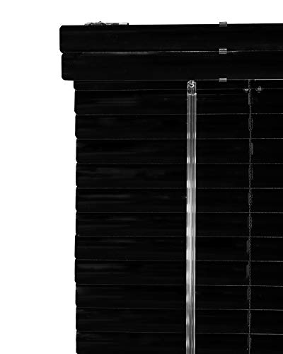 CHICOLOGY Custom Made Corded 1-Inch Aluminum Mini Blind, Blackout Horizontal Slats, Inside Mount, Room Darkening Perfect for Kitchen/Bedroom/Living Room/Office and More: 43″ W X 72″ H, Black (Matte)