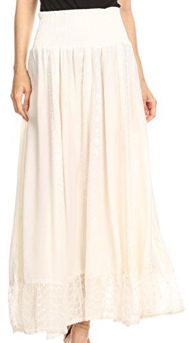 Smock Maxi (Sakkas 4681 - INES Womens Gypsy Maxi Bohemian Long Skirt with Elastic Smock Waist & Lace - Natural - L)