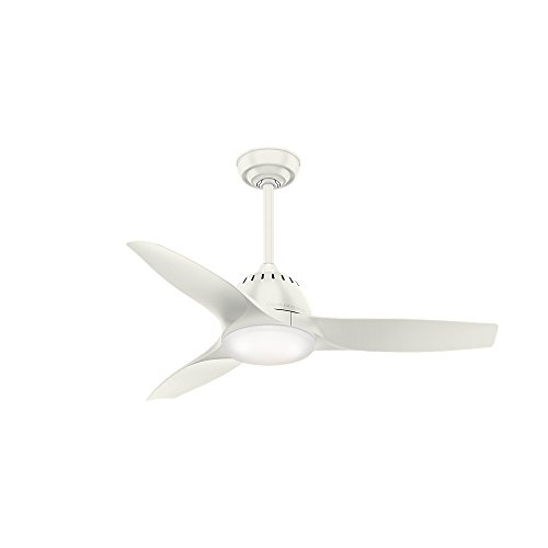"Casablanca Fan Company 59286 44"" Wisp Small Room Ceiling Fan with Light with Handheld Remote, Fresh White"