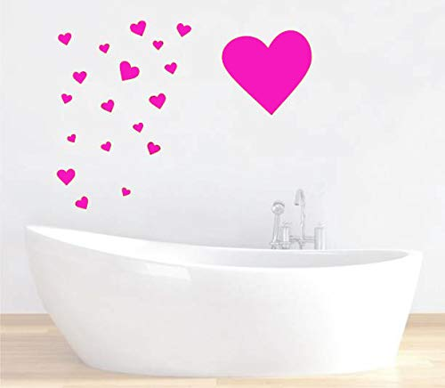 Pink Heart Shape Mix 97 pcs Removable Wall Decals for Kids Room Decoration Stickers+