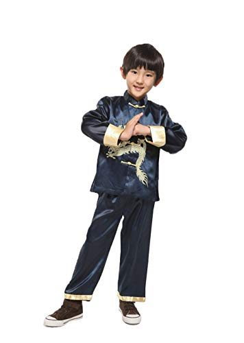 Suimiki Traditional Chinese Dragon Kung Fu Outfit Tang Suit for Boys Navy 10]()