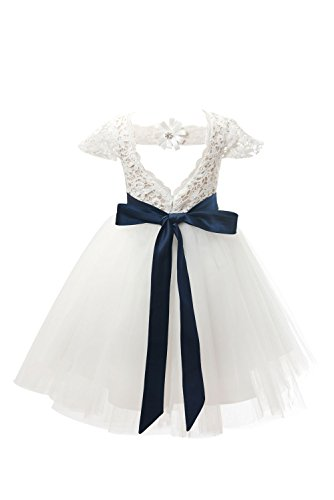 Miama Ivory Lace Tulle Cap Sleeves Wedding Flower Girl Dress Junior Bridesmaid Dress by Miama