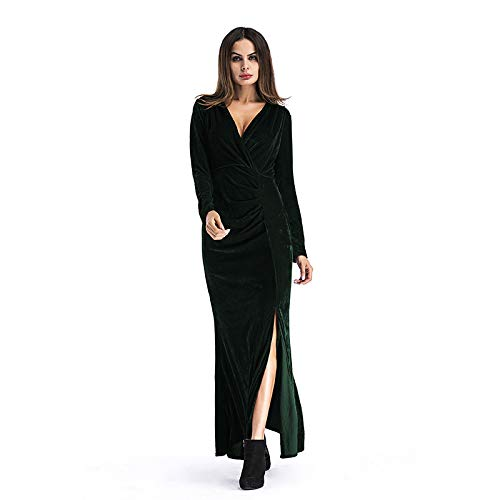LYQTONG European and American Long Skirt Solid color Deep V High Waist Long Sleeve Split Skirt Skirt Dress, Green, S
