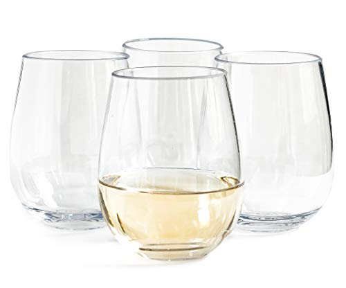 Vinjoy Unbreakable Stemless Plastic Wine Glasses 16 Ounce (Set Of 4) - Extra Durable - Reusable Shatterproof Tritan Indoor Outdoor Party Cups - Dishwasher Safe - Bar Glassware