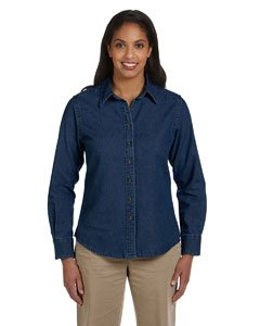 - Harriton Ladies' 6.5 oz. Long-Sleeve Denim Shirt - DARK DENIM - XL