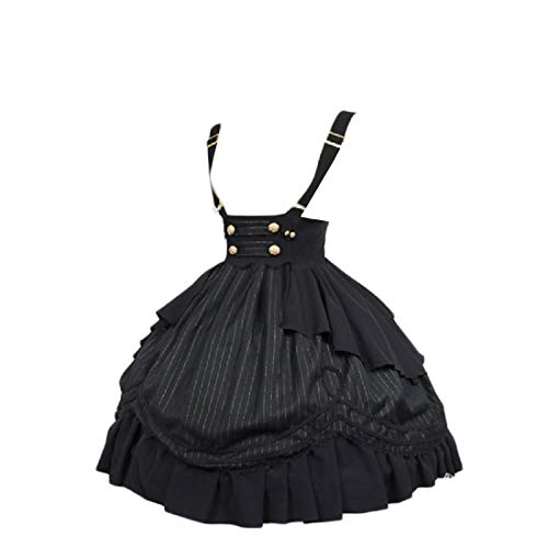 REDHOP Mujeres Vintage Slim armarios Swing Rockailly Tirantes de Vestidos Medievales Black XXL