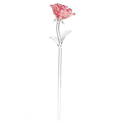 Waterford Crystal Glass Sculptured Rose - Pink or Red