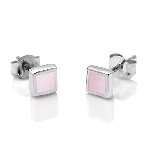 - SUVANI 925 Sterling Silver Tiny Pink Mother of Pearl Shell Inlay Square 5 mm Post Stud Earrings