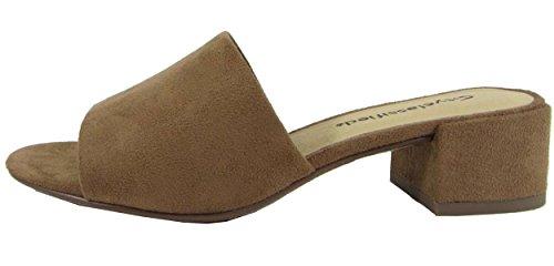 City Classified Women's Block Heel Slip On Clog Mule Sandal