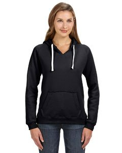J-America Women's Brushed V-Neck Hooded Fleece - Black ss8836 M