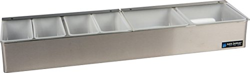 San Jamar B4246L Stainless Steel Non-Chilled Garnish Tray with Split Lid, 24'' Width x 3-1/2'' Height x 5-3/4'' Depth by San Jamar (Image #3)