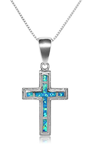 Sterling Silver Synthetic Blue Opal Cross Necklace Pendant With 18