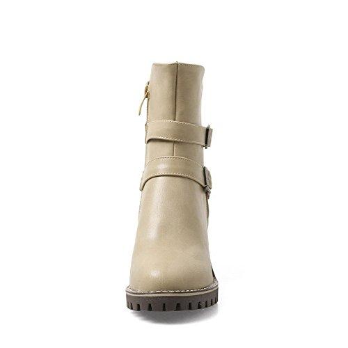 Womens Fashion BalaMasa Urethane Beige ABL10190 Buckle Boots Retro qPfOdw5