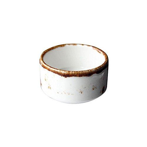 Vertex China LTW-RSD 2 Ounce Terra White Gyre Sauce Dish - 48 / CS
